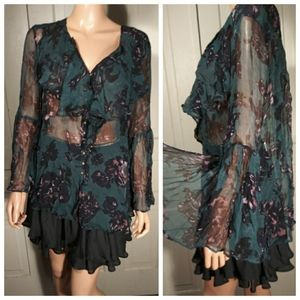 NWT Anthropologie Feather Bone bell sleeved top